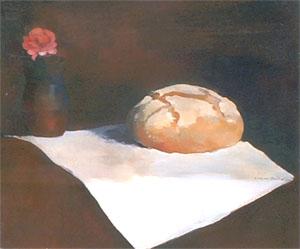 Peinture à l'huile d'un pain et d'une rose