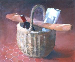 Peinture à l'huile d'un panier contenant une baguette, du vin et un journal
