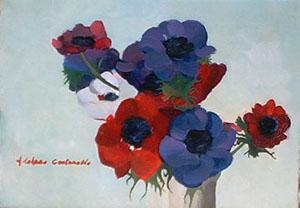 Peinture à l'huile d'anémones rouges, bleues, violettes et blanches