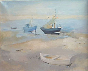 Peinture à l'huile de bateaux sur la plage