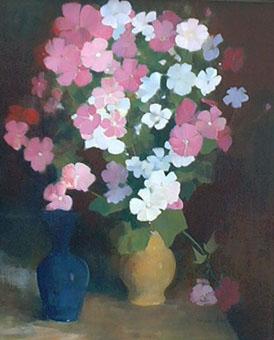 Peinture à l'huile d'un bouquet de fleurs roses et blanches