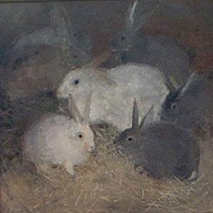 Peinture à l'huile de lapins