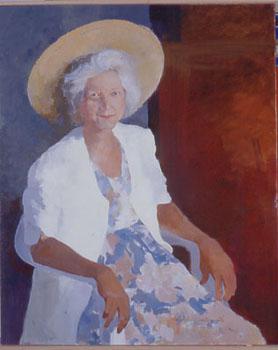 Huile sur toile du portrait d'une femme avec son chapeau de paille
