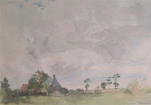 Maison de campagne en aquarelle