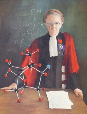 Portrait d'une femme ayant été nommée Chevalier de la légion d'honneur avec devant-elle une molécule de chimie