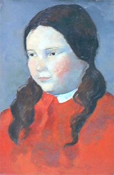 Peinture à l'huile du portrait d'une petite fille aux habits et aux pommettes rouges