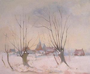Peinture à l'huile de Zermezeele sous la neige