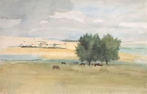 Peinture d'un paturage en flandre
