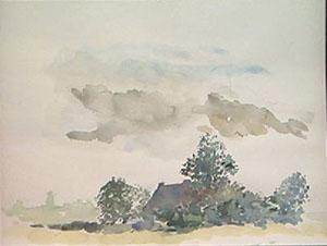 Paysage de flandre en aquarelle