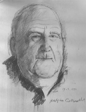 Dessin au fusain du portrait du père Jules COSTENOBLE