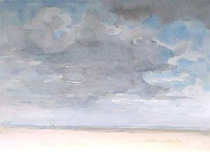 Plage de la mer du Nord en aquarelle