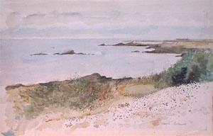 Plage de l'ile d'Yeu en aquarelle sur torchon