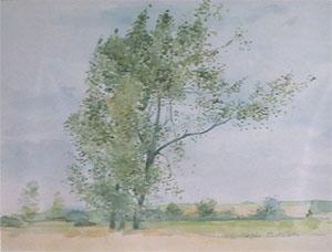 Plaine flamande en aquarelle