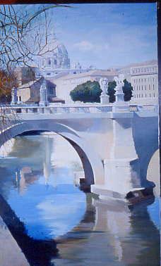 Huile sur toile de Ponte Angeli à Rome