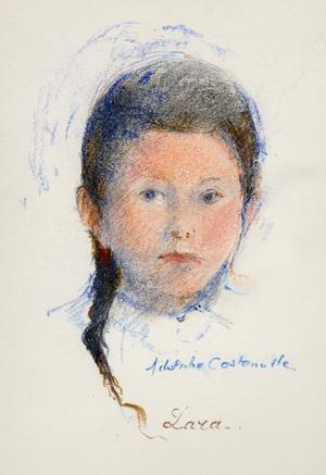 Dessin du portrait d'un petite fille de 10 ans