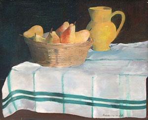 Peinture à l'huile d'un pot jaune