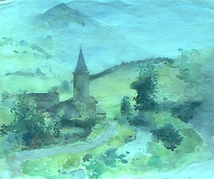 Gouache sur torchon d'Oloron Sainte-Marie