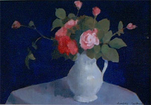 Peinture à l'huile de roses dans un vase