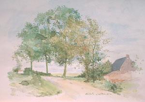 Route de Clairmarais en aquarelle