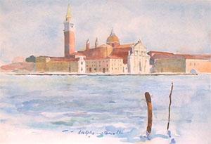 L'ile San Giorgio en aquarelle