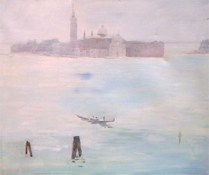 Huile sur toile de l'ile San Giorgio sous la brume