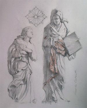 Dessin de Sainte Anne et la Vierge