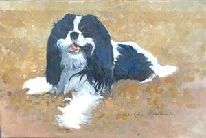 Peinture à l'huile d'un chien