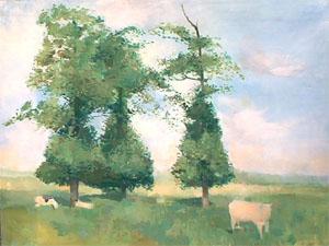 Huile sur toile de vaches