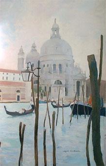 Huile sur toile de Venise la Salute