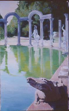 Huile sur toile de Villa Adriano Tivoli à Rome