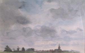 Village en flandre en aquarelle