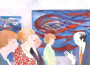 Huile sur toile d'un musée d'art ou une personne explique une oeuvre d'art abstrait à des visiteurs