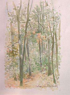 Forêt en aquarelle