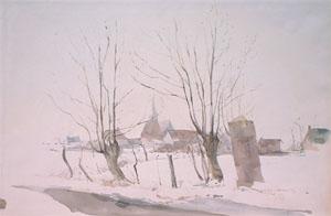 Zermezeele sous la neige en aquarelle